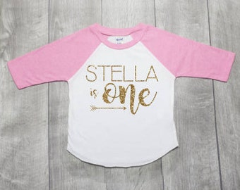 Personalized First Birthday Shirt | 1st Birthday Girl | Birthday Girl Outfit | Cake Smash Shirt | One Year Old Shirt | Raglan