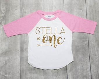 Personalized First Birthday Shirt   1st Birthday Girl   Birthday Girl Outfit   Cake Smash Shirt   One Year Old Shirt   Raglan