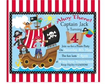 Pirate Invitation,Pirate Invite,Printable Pirate Invitation,Birthday Invitation,Customised Pirate Invitation,Pirate Birthday,Pirate Party