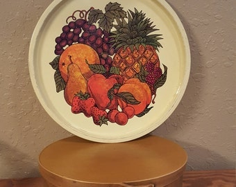 Vintage fruit tray.  Made in England by Elite Trays.  Retro tropical fruit tray.  Vintage tray for wall decor.