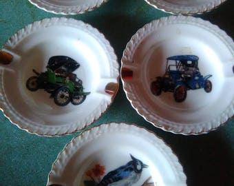 5 Vintage Small Ashtrays Cars and Birds