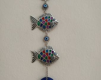 Enamel Blue evil eye wall decor-evil eye wall hanging-triple fish hanging-turkish evil eye-glass evil eye decor-goodluck charm decor hanging