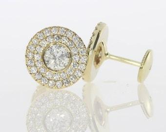 1 Carat, Yellow Gold Diamond Earrings, 14k Yellow Gold,  Stud Diamond Earrings, Diamond Halo Earrings, **FREE SHIPPING**
