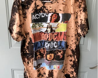 Bleached and Ripped Distressed AC/DC Shirt