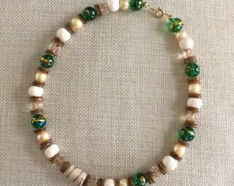 Earth tone choker necklace
