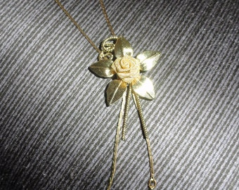 Vintage Gold Tone Wire Mesh Rose Floral Bolo Style Lariat Necklace Slider Pendant