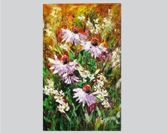 Palette knife decor Canvas modern artwork Vertical painting Knife flower painting on canvas Floral oil painting Sunflower painting Knife art