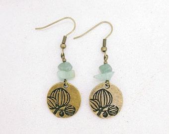 Earrings - sequin bronze lotus flower - green Aventurine
