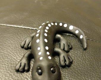 Black and White Lizard-Polymer Clay Handmade