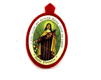 Vintage Saint Therese of Lisieux Scapular Badge,1940s St Therese Little Flower Scapular Patch, St Theresa of Child Jesus