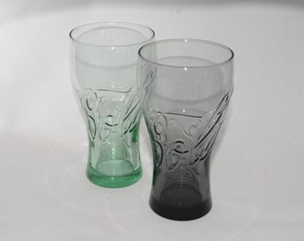 Set of 2, Coca Cola Glass, Glass Cup, Coca Cola Collectible Glass, Embossed logo, 1 Green and 1 Amber, Embossed Coca-Cola lettering, vintage