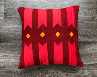 Hand woven pillow cover merino wool, 16x16, southwest style,peruvian textile, boho geometric design, natural dyes, ethnic motifs