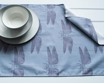 Tea Towel Made from 100% Cotton in Detailed Dragonfly Blue Grey Pattern