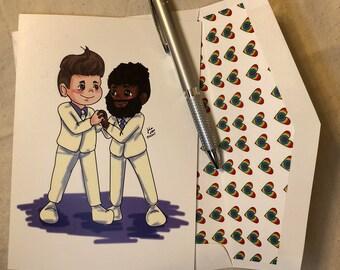 Gay wedding card, interracial gay wedding card, Mr. and Mr. wedding card, gay marriage card