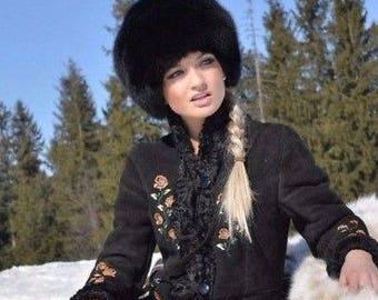 New FOX FUR hat Black women warm winter beanie fur hat  headwear luxury gift for women soviet russian  style real natural genuine fox fur