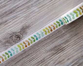 vine washi tape,Colorful Leaves Paper Tape, Decorative Tape, Leaf Washi Tape,