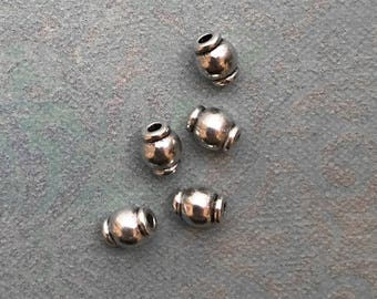 Antique Silver Barrel Beads 6mm x 5mm - 1.5mm Hole Spacer Metal Beads