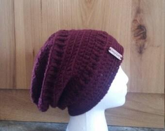 Handmade Crochet Women's Slouchy Hat Crochet Women's Winter Slouch Hat Wine Burgundy Colored