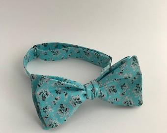 Self Tie Bow Tie- Blue & Floral
