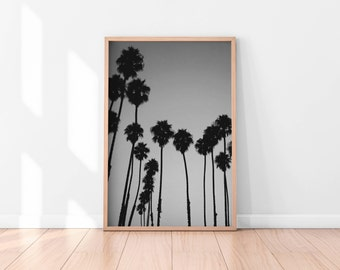 Black and white Palm Trees Printable, Minimalist Tropical Wall Art, Palm Tree Art Print, California Print, Landscape Photography, Nature Art