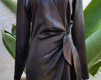 1990's black dress, classy, satin finish, semi-formal, long sleeve, above knee, v-neck