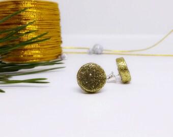 Glitter gold earrings, earrings for christmas, sparkly round earrings, ceramic geometric earrings, shiny earrings, sparkish stud earrings