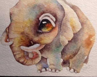 Hand Painted Watercolor Greeting Card...Elephant