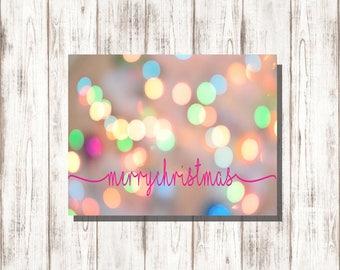 Christmas Lights, Merry Christmas Card- Digital Download
