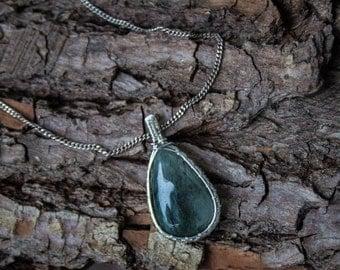 Moss Quartz silver wire wrapped pendant