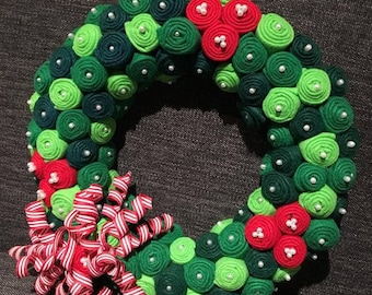 Felt-Bud Holiday Wreath
