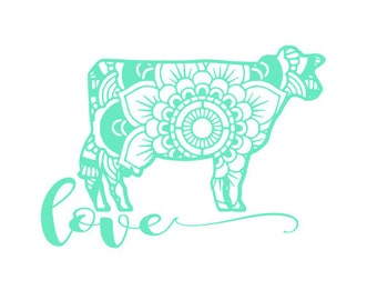 Cow mandala decal, cow car decal, cow sticker