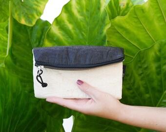 Vegan Pinatex Purse SARA - Make Up Bag, two colours, black & white, handcrafted