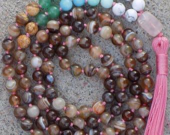 Ombre Creativity Mala - Multistone mala -108 bead mala - prayer bead necklace - meditation - yoga - tassel necklace - gemstone mala