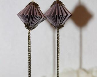 Origami paper earrings purple.