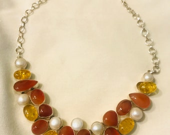 Citrine and faux pearl and agate oh my! necklace , prom, formal or easter