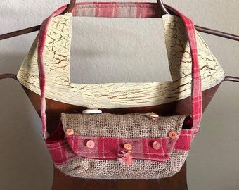 Small Re-Purposed Coffee Bag Purse, Eye Glasses or Children's Purse