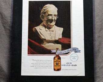 Vintage Old Grand-Dad bourbon whiskey advertisement 1940's. Matted and framed, 14inx11.5in. Backside wall hanger makes for instant display