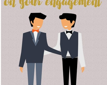 Gay 'Congratulations on your engagement' Greetings Card