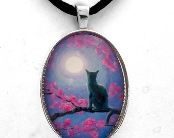 Russian Blue Cat in Pink Flowers Grey Cat Necklace Jewelry Pendant Zen Moon Sakura Cherry Blossoms Spring Handmade Art Laura Milnor Iverson