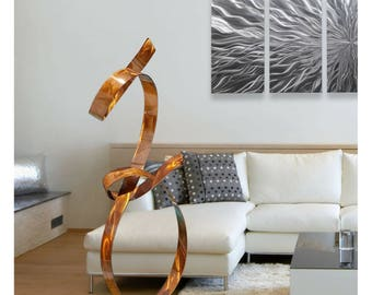 Large Modern Metal Sculpture, Abstract Copper Indoor Outdoor Garden Art, Contemporary Statue Decor - Metal Art - Copper Allure by Jon Allen