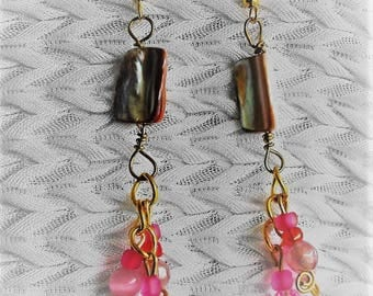 BOHO Glass Bead and Shell Pierced Earrings, Free Domestic Shipping, Special Orders, Wire Wrapped Glass Beads Chain Dangles 3.5 x .5 inch