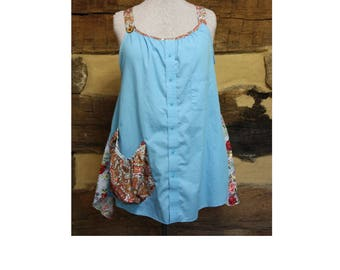 Womens Lagenlook Tunic Top Dress Upcycled Patchwork Hippie Clothes  Boho Chic  Mori Girl Style