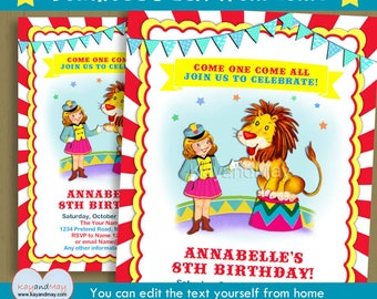 Circus Party invitation - Carnival theme birthday printable invite blonde girl lion tamer - INSTANT DOWNLOAD #P-10 - with editable text