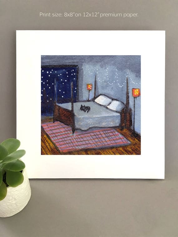 Cat on the Bed, black cat art for my house, black cat painting, cat sleeping in bed, king of the bed, queen of the bed by Bernadette Artwork