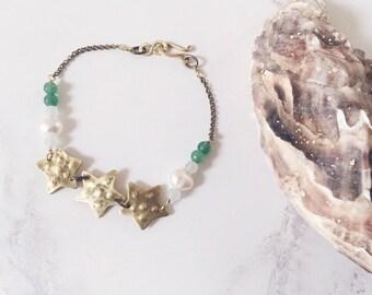 Green bracelet starfish, brass aventurine amazonite gemstones & freshwater pearls, beach ocean jewelry