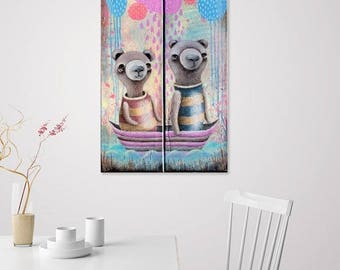 Undercover Pirates (Original Paintings) Cute Bear Love Couple sailing in boat - Healing Art for Children