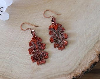 Lacey Oak Copper Leaf Earrings, Oak Leaf, Real Leaf Earrings, Nature, Lacey Oak Earrings, Copper Earrings, Rose Gold LESM197