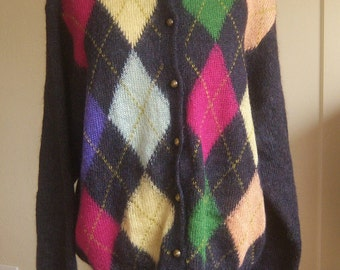 Vintage 80s mohair cardigan / United Colors of Benetton / fuzzy argyle loose knit colorful sweater / Italy / women's large xl, men's medium