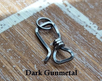 Oxidized Large Square Clasp, 18g Sterling Silver Hook Clasp, Choice of Antiqued or Gunmetal, Handmade Findings