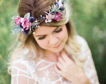 bridal headpiece, pink flower crown, rosemary, leaves flower crown, navy, dusty pink, mauve wedding, crown headband, pink floral crown